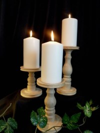 Unfinished Pillar Candle Holder Set of 3 by SmokyMtWoodNThings