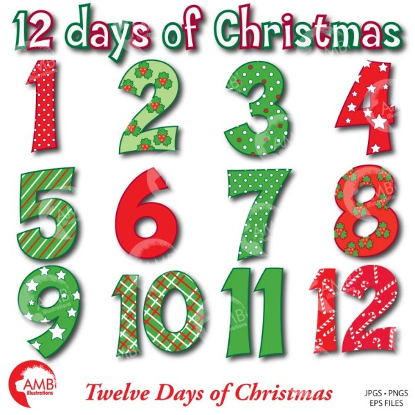 Christmas Numbers Clipart Twelve Days of Christmas