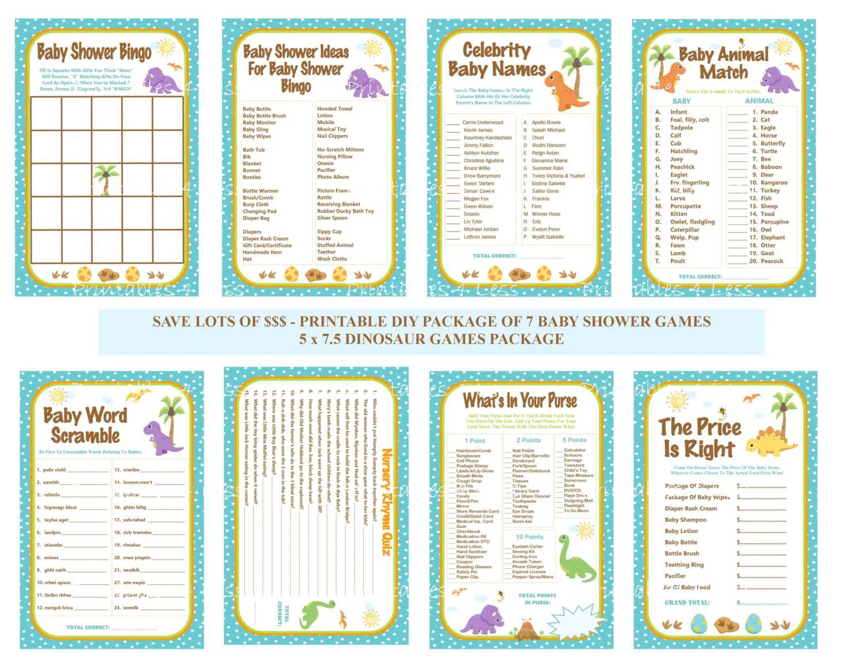 Dinosaur Baby Shower Game Pack Dinosaur Baby Game Printable