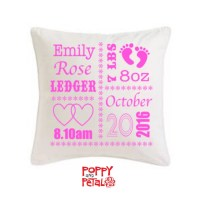Birth Announcement Pillow Pink Fonts New Baby Gift