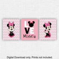 Minnie Mouse Wall Art Love Disney Wall Art Set of 3 8x10