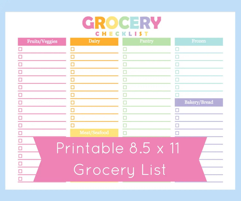 Shopping List Grocery List Printable Grocery List Printable