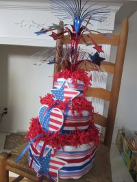 4th of July Baby Shower Diaper Cake Red White Blue Baby Shower