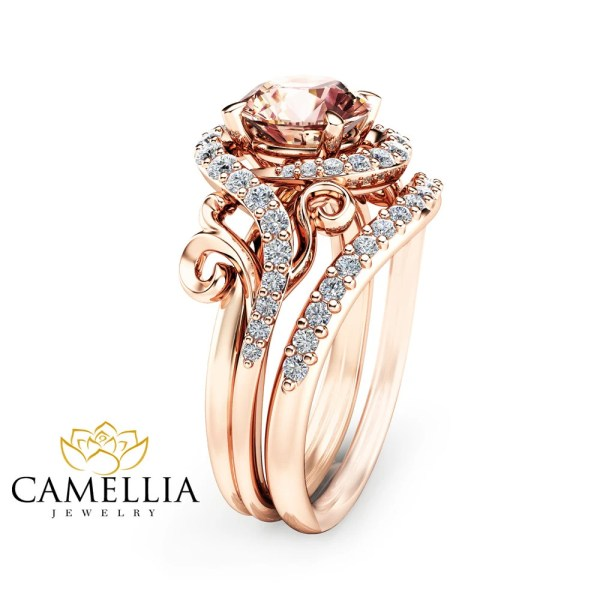 Rose Gold Morganite Engagement Ring Set Unique Rose Gold