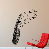 Feather Flying Bird Wall Decal Vinyl Stickers Abstract Wall
