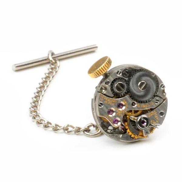 Antique Gubelin Watch Steampunk Tie Tack Pin Chain Clip