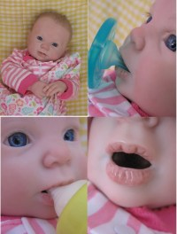 OPEN MOUTH reborn baby girl holds a FULL pacifier & Faux