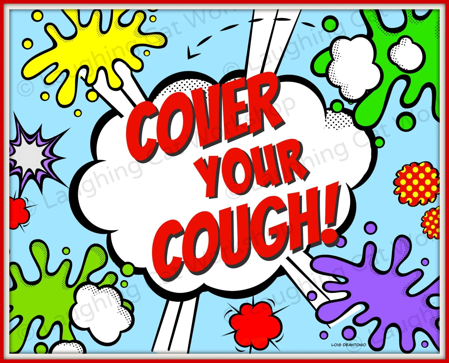 Cover Your Cough Funny superhero comic print Back to School