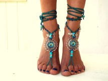Blue Sea Barefoot Sandals Beach Jewelry Gemstones