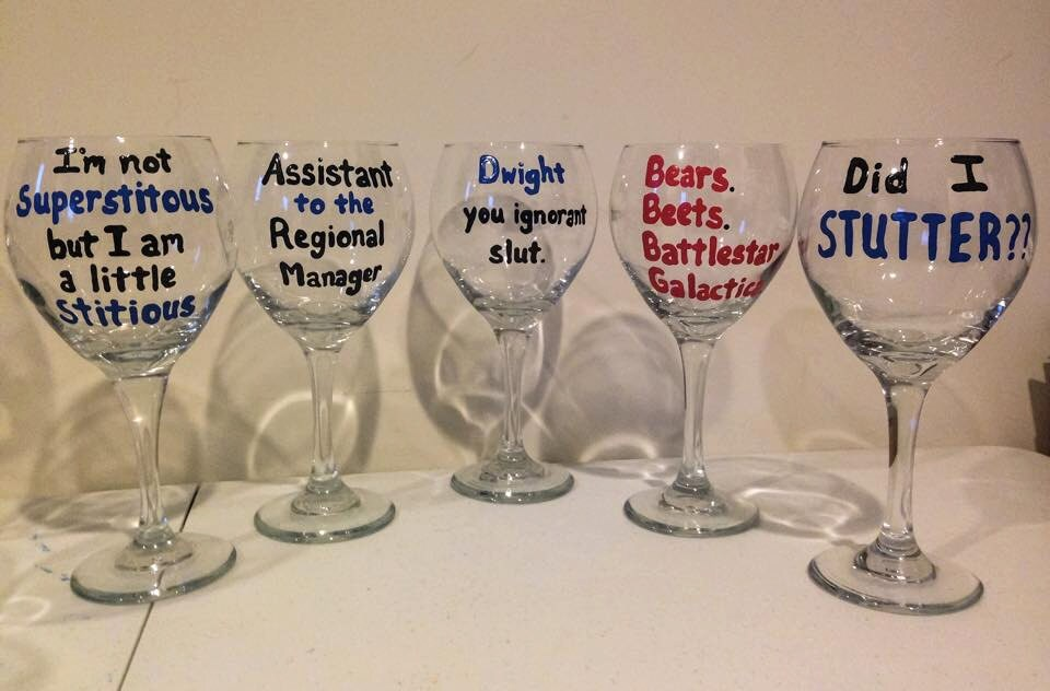 The Office Wine Glasses 5 Pack Michael Scott Dwight