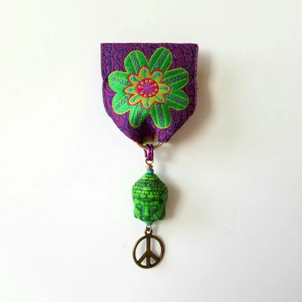 Moonflower Peace Medal Purple Green Ribbon Buddha Head