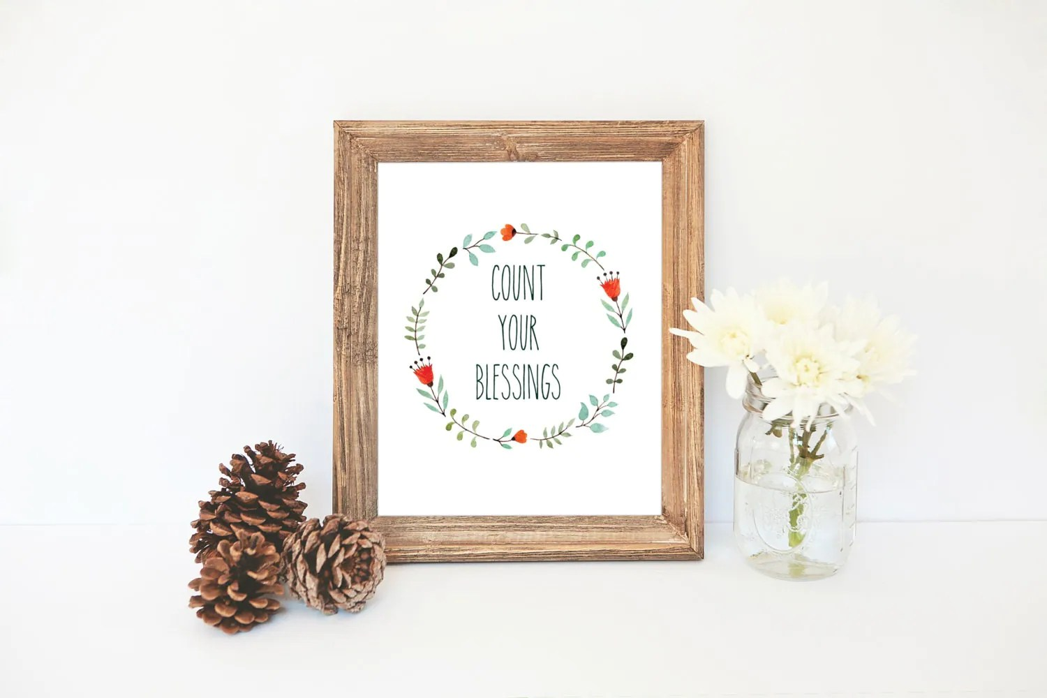 Count Your Blessings Print Floral Wreath Printable