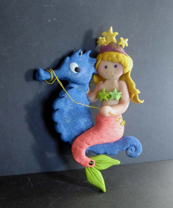 Mermaid Seahorse Christmas Ornament Fairy Princess Swimming