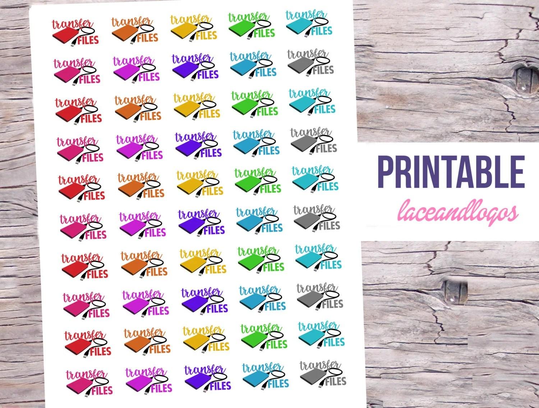 Printable Planner Stickers Transfer Files Harddrive For Erin Condren Mambi Happy Planner Glam