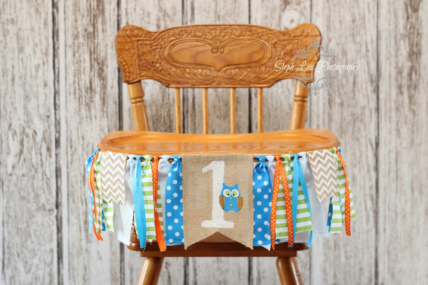 Owl High Chair Woodland Owl Burlap High Chair Banner Orange And Blue Look