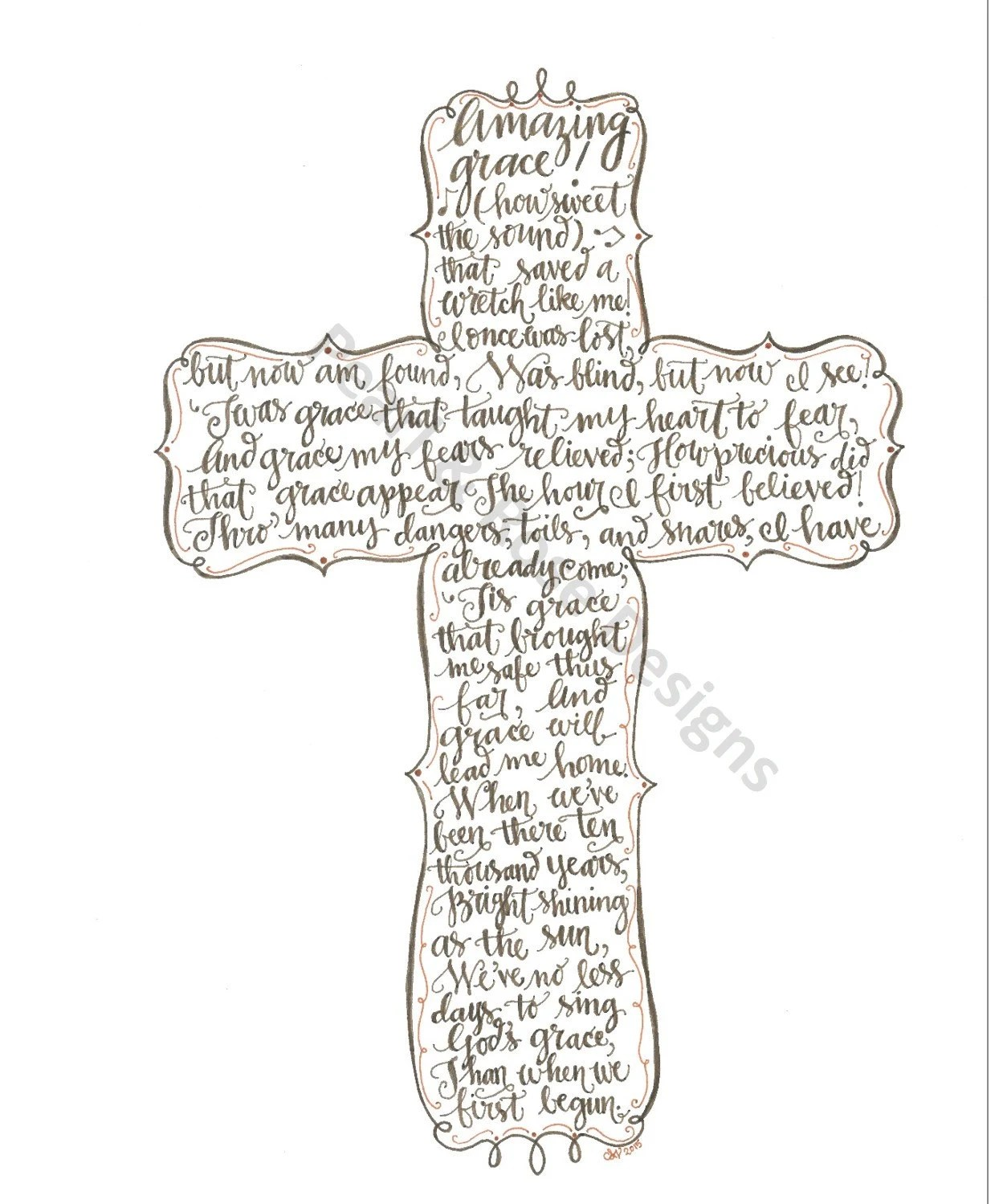 Amazing Grace Printable Hand Drawn Cross By