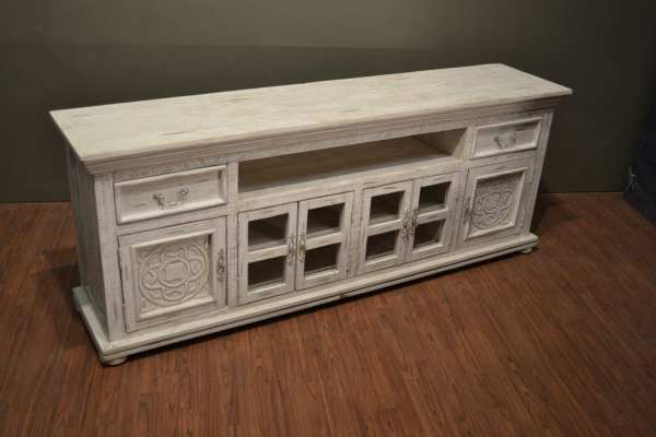 Rustic Solid Wood Carved 82 White Tv Stand Media