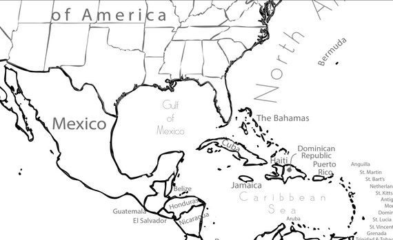 Coloring Page World Map Labeled, Extra Large 48x32 inch
