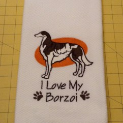 Martha Stewart Kitchen Towels Cabinet Door Replacement Lowes I Love My Borzoi Collectible Embroidered