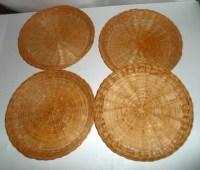 Vintage Wicker Paper Plate Holders Set of 4 Paper Plate