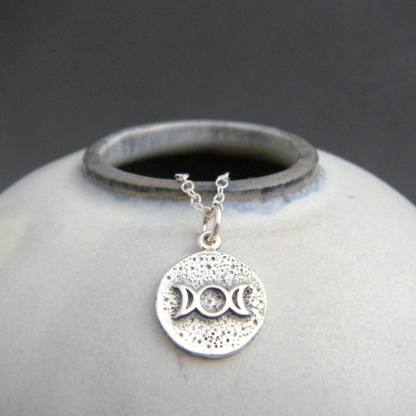 Sterling Silver Triple Moon Necklace. Small Goddess Amulet