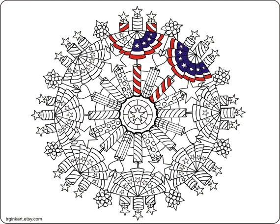 4th of July Fire Crackers Adult coloring page