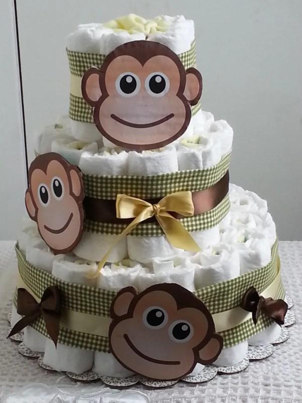 3 Tier Diaper Cake Monkey Baby Shower