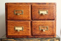Vintage Library Card Catalog 4 Drawer Wooden Oak Apothecary