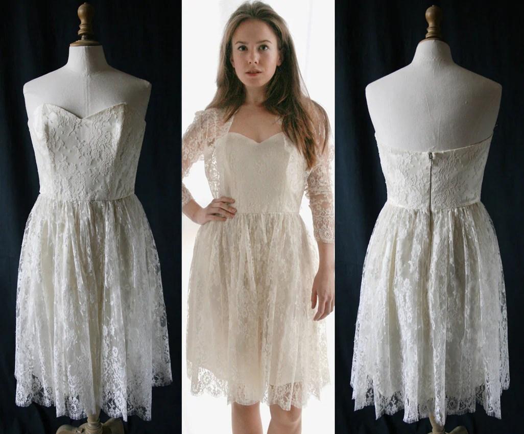 Wedding short corset dress French lace Single model Vintage