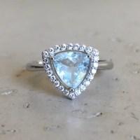 Trillion Cut Aquamarine Ring Bridal Ring Promise Ring