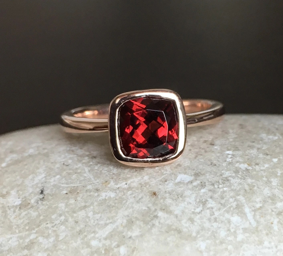 Garnet Engagement Ring Rose Gold Ring Promise Ring Cushion
