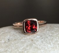 Garnet Engagement Ring Rose Gold Ring Promise Ring Cushion