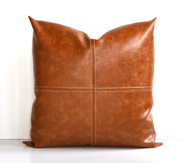 Decorative Faux Leather Pillow Cover Paneled Theeashop