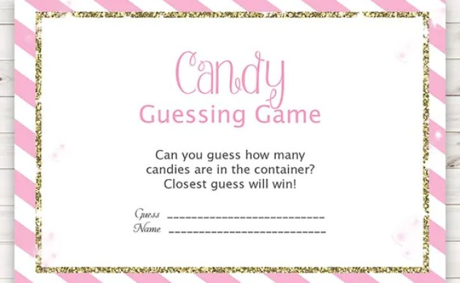 Baby Shower Games Candy Guessing Game Pink And Gold Baby
