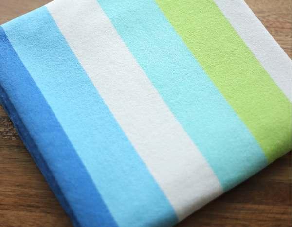 Terry Cloth Fabric Rainbow 5 Cm Stripe Blue Yard