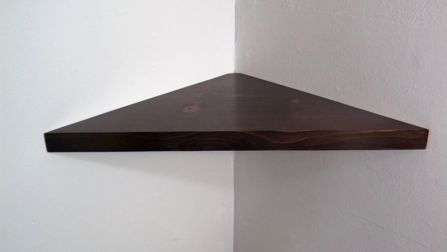 24 Inch Floating Corner Shelf With Espresso Stain By
