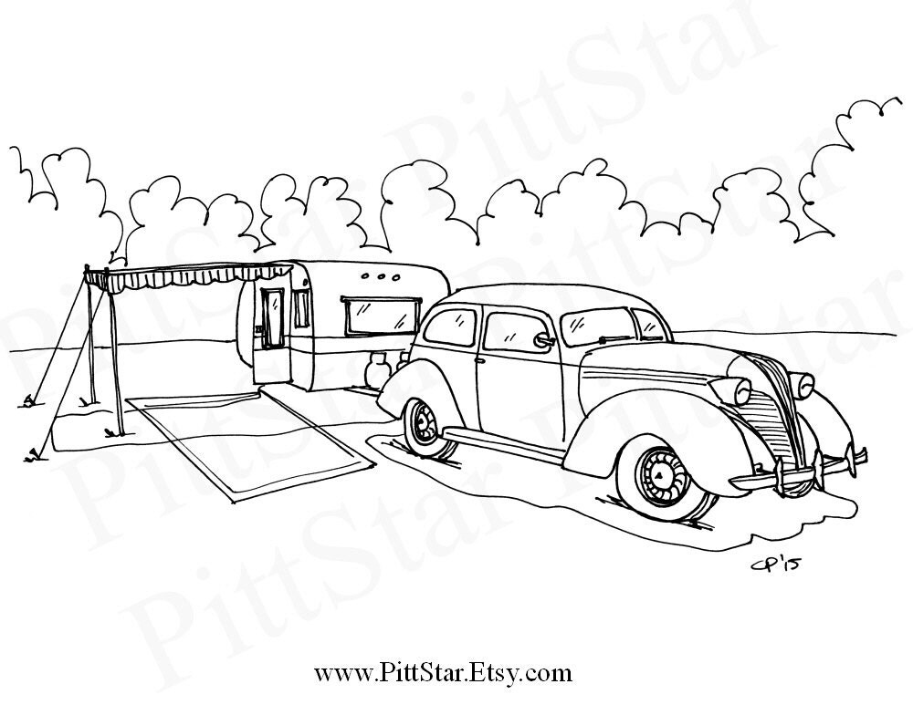 Instant Download Vintage Camper with tow vehicle Printable