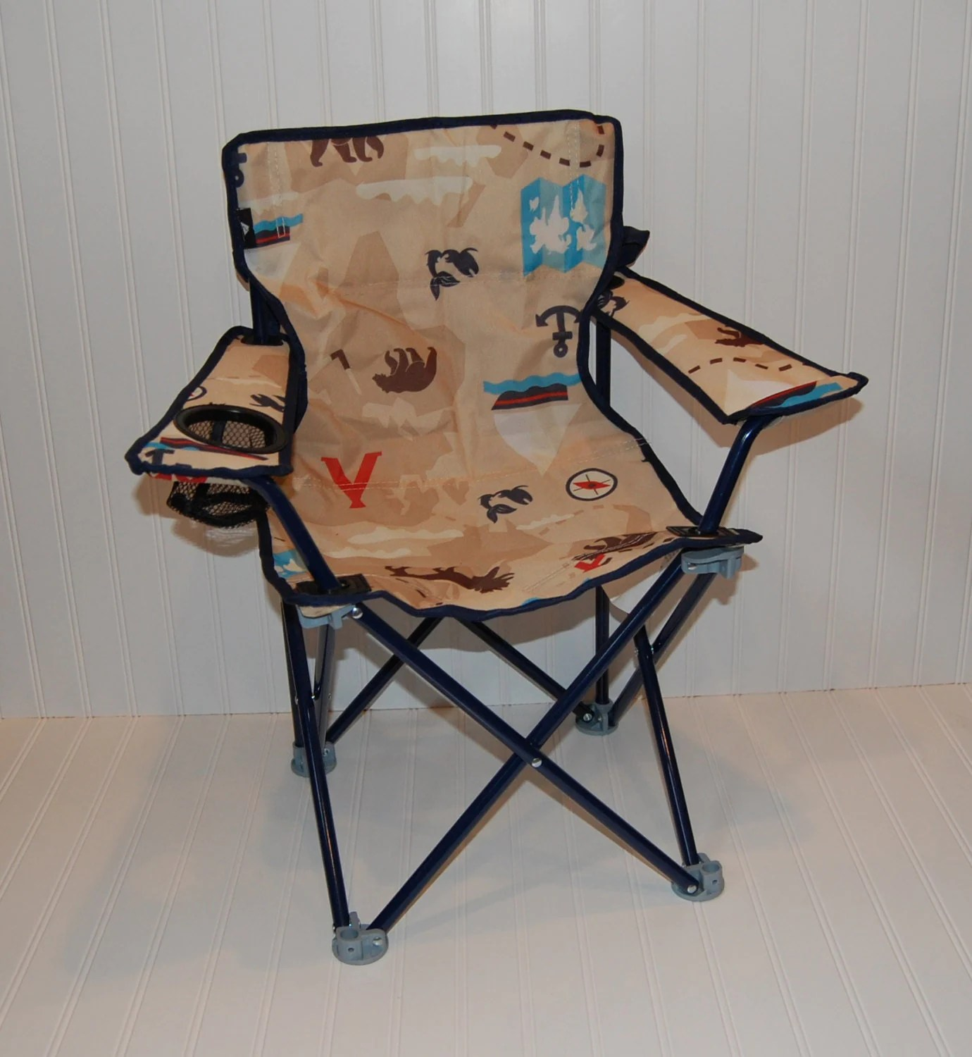 personalized little kid chair in steel reinforcement toddler boy folding camping adventure