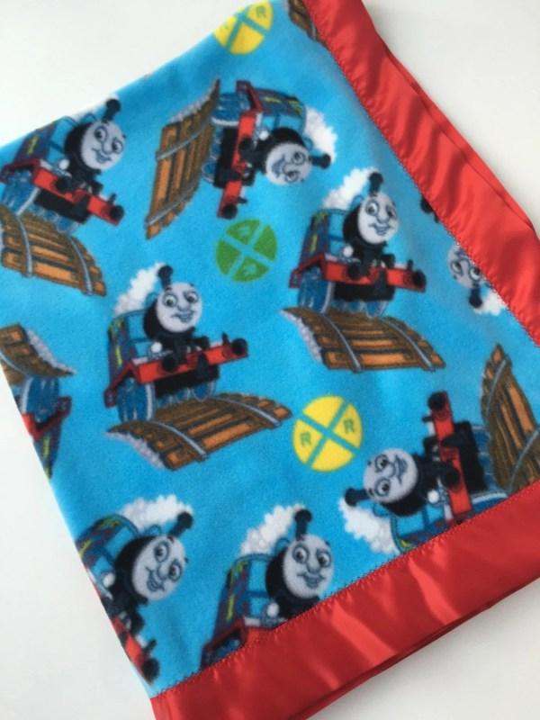 Thomas Train Fleece Blanket With Red Satin Binding
