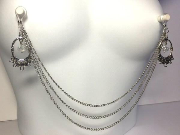 Pierced Triple Nipple Chain Filigree