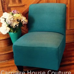 Parson Chair Slipcover Handicap Shower Chairs With Arms Teal Suede Cover For Armless Slipper