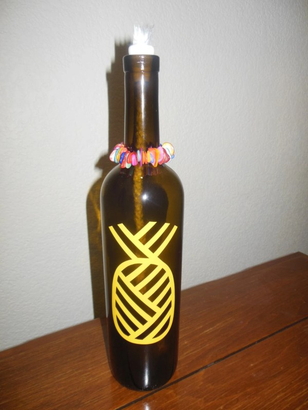 Tiki Torch Wine Bottle Yellow Pineapple With Colored Stone
