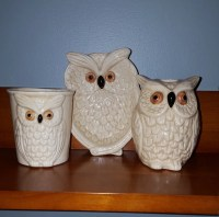 Owl Bathroom Set Toothbrush Holder Soap Dish Tumbler Vintage