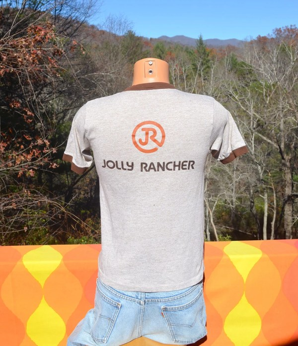 Vintage 70s T-shirt Jolly Rancher Heathered Brown Ringer Small