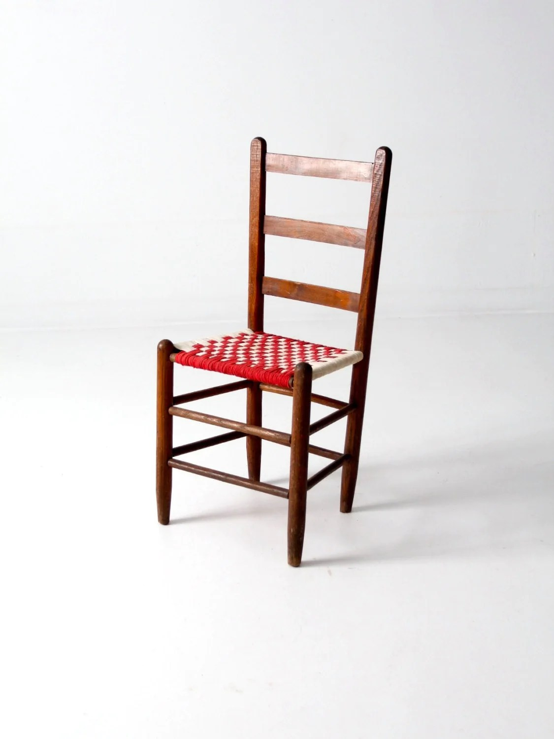 White Ladder Back Chair Ladderback Chair With Woven Cloth Seat Antique Checker Accent