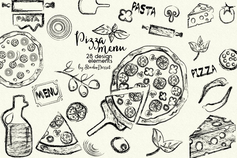 Pizza Clipart Ink Cliparts Sketch Clip Art Italian Kitchen