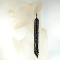 Extra Long Black Beaded Earrings Dangle Earrings Fringe