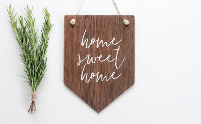 Home Sweet Home Wall Banner Wooden Wall Art Pennant Wall