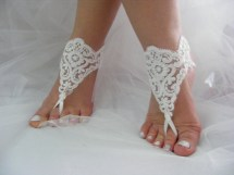 White Lace Sequined Barefoot Sandals Beach Wedding