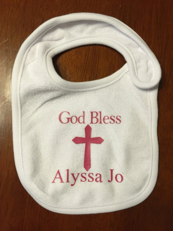 God Bless Bib Personalized Baptism Christening